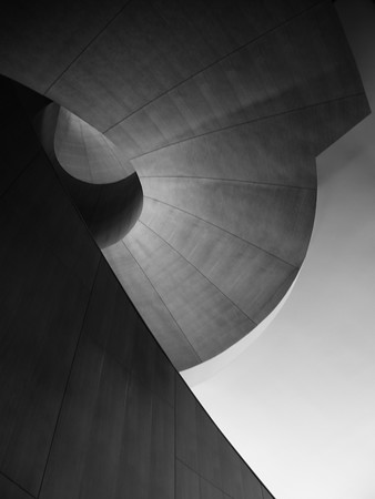 Frank Gehry spiral staircase, black and white architecture photography by Jeanne McRight, Pix Photography.