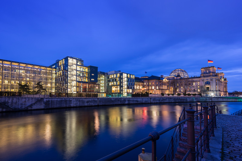 German parliament buildings in Berlin in the evening