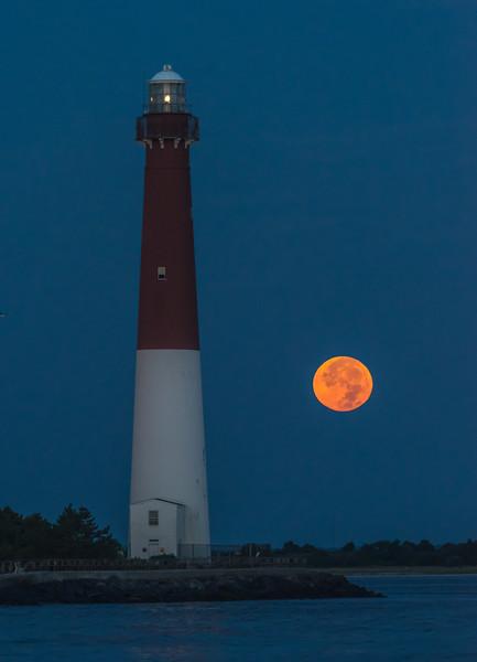 Full Moon Setting Behind Barnegat Lighthouse 8/26/18
