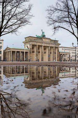 Brandenburg Gate and its reflection in Berlin