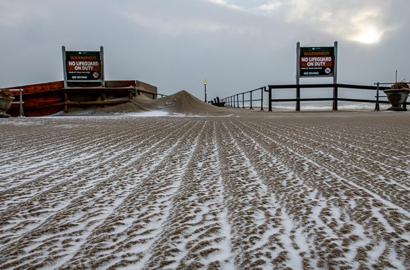 Snow & Sand On Ocean Grove Boardwalk 12/17/20
