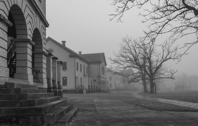 A Foggy Morning At Officer's Row in Fort Hancock, Sandy Hook 3/20/20