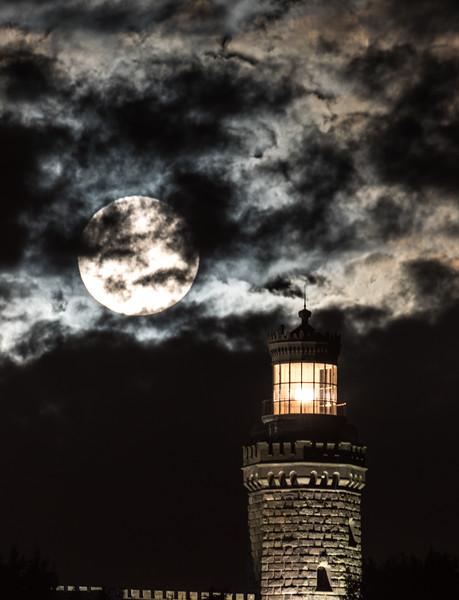 Cloudy Full Moon Setting Over Twin Lights Lighthouse 10/5/17