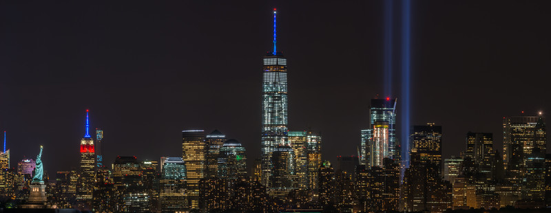 Tribute in Lights with Statue of Liberty and Empire State Building, New York City, NY