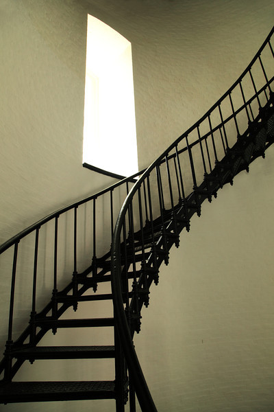 A path of spiraling stairs leading upward to the light, at Bodie Island Lighthouse, the Outer Banks, North Carolina