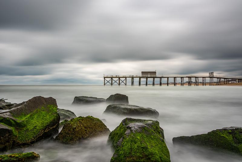 Stomy Skies Over Belmar Pier and Jetty Rocks 6/22/18