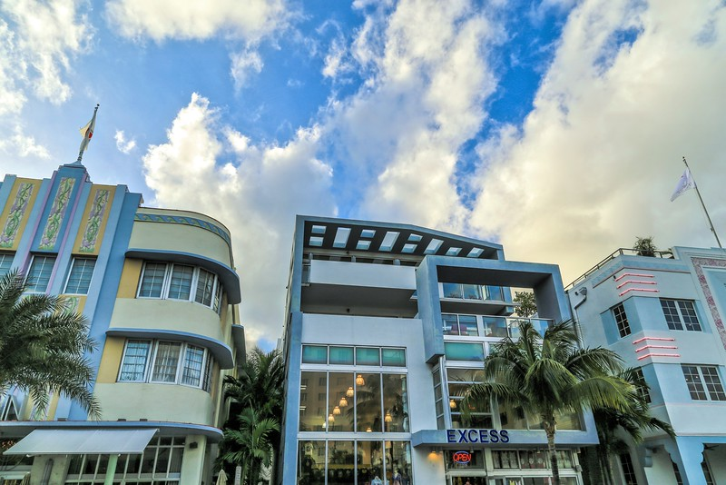 Art Deco Hotel Buildings in South Beach - Miami, FL