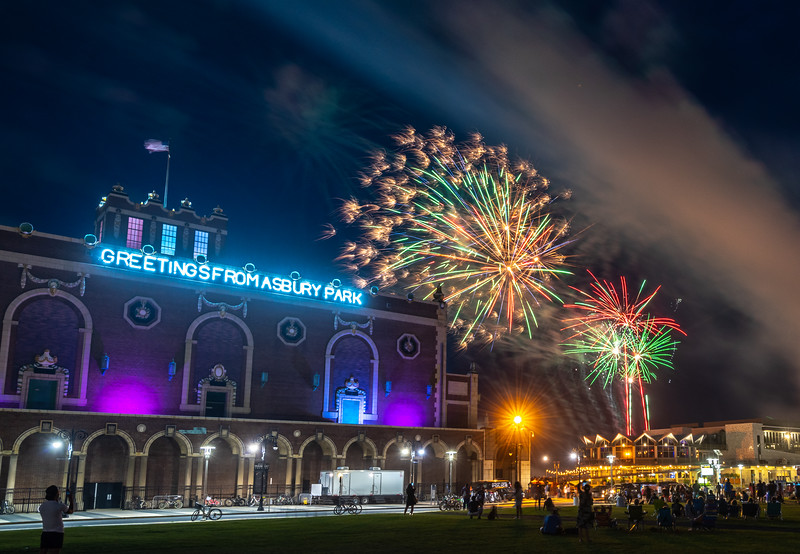 Fourth of July Fireworks Over Convention Hall in Asbury Park 7/4/18