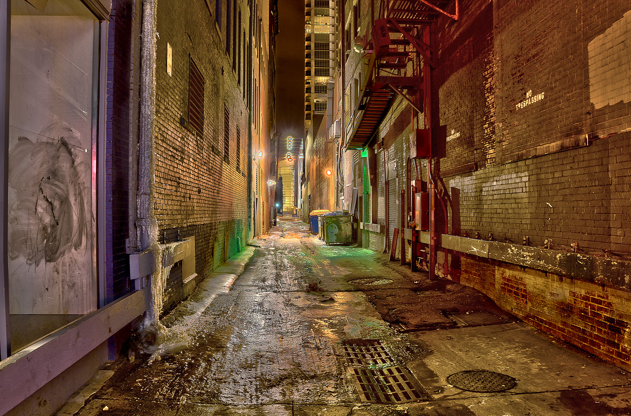 HDR Winter Alley.  Downtown Denver CO.
