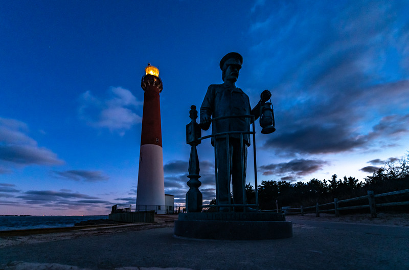 Predawn Colors Over The Lighthouse Keeper Statue & Barnegat Lighthouse 1/30/20