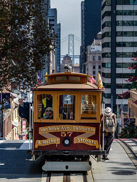 A Cable Car In Front Of The Bay Bridge, San Francisco, CA 11/6/19