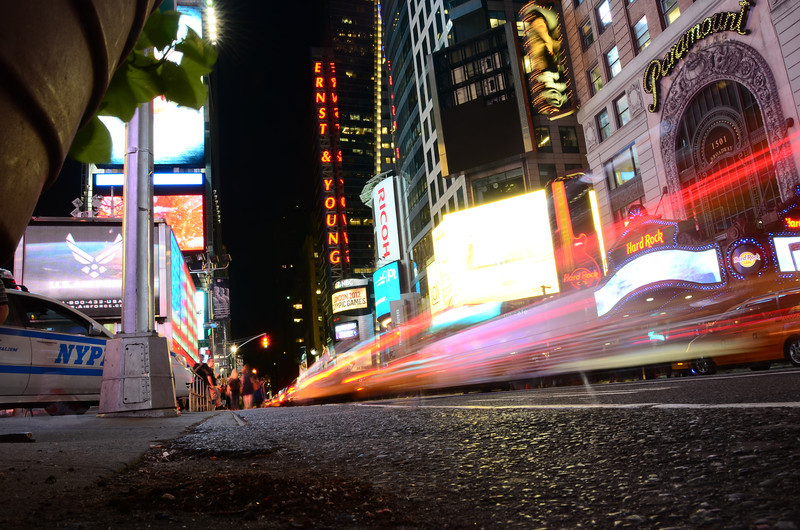 Times Square long exposure.  Camera literally sitting on the ground.