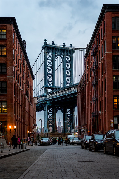 Manhattan Bridge with the Empire State Building in Dumbo, Brooklyn, NY 1/28/17