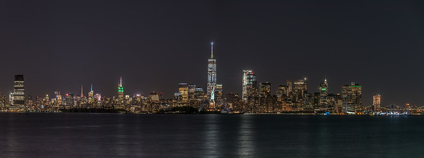 A Panoramic Shot of the Manhattan Skyline with the Statue of Liberty Aligned with the Freedom Tower 6/9/17