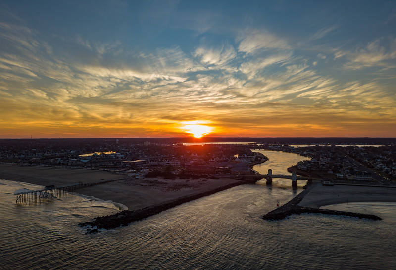 Fiery Sunrise Over Belmar and Shark River Inlet 2/18/18