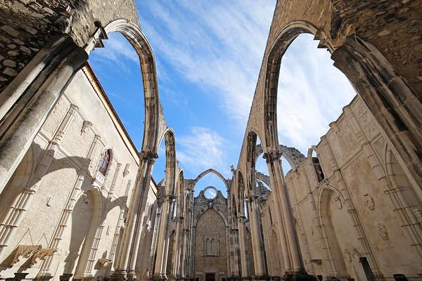 Old ruins of Convento do Carmo (Carmo Convent) in Lisbon