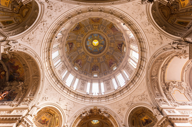 Dome at the Berliner Dom viewed from below