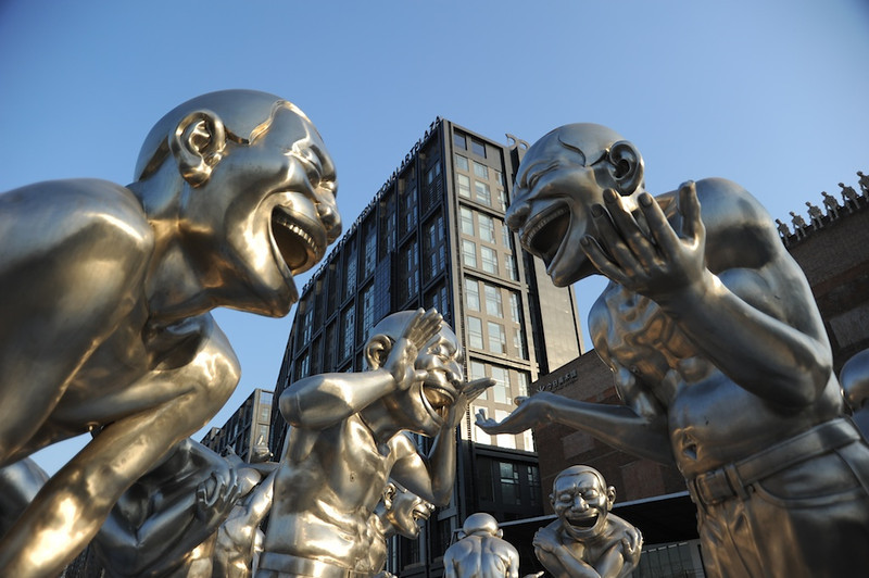 Sculptures by Yue Minjun in front of Pingod Development, Beijing
