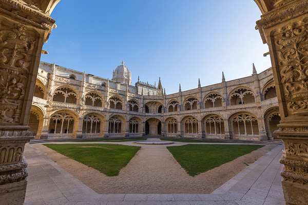 Courtyard and cloisters at Mosteiro dos Jeronimos in Lisbon