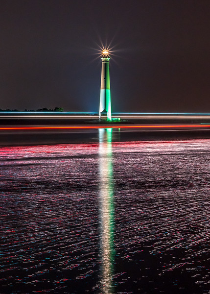 Boat Light Trails In Front of The Barnegat Lighthouse 8/10/18