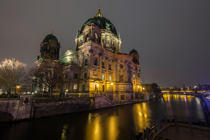 Illuminated Berliner Dom in Berlin at dusk