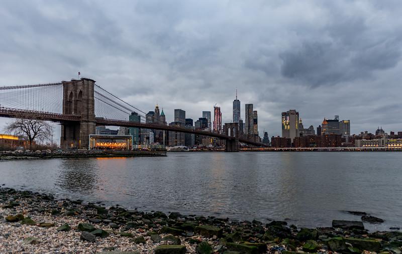 Brooklyn Bridge with NYC Skyline 1/28/17