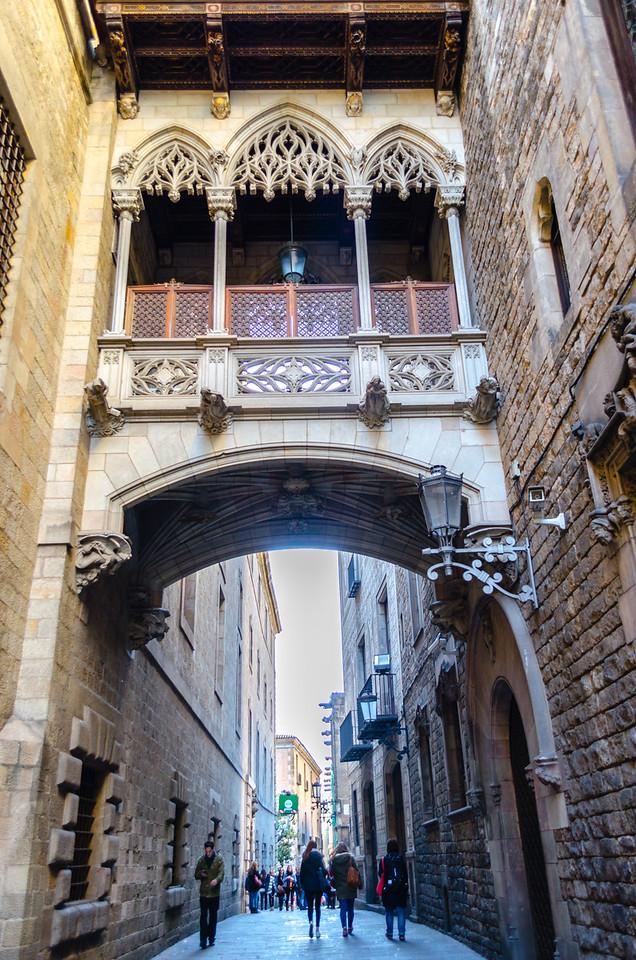 Bridge at Carrer del Bisbe in the Gothic Quarter