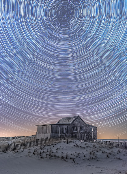 Star Trails Over The Judge's Shack in Island Beach State Park 4/11/18