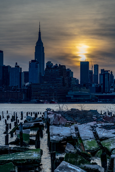 Cloudy Sunrise over Pier Remnants and Empire State Building 2/23/19