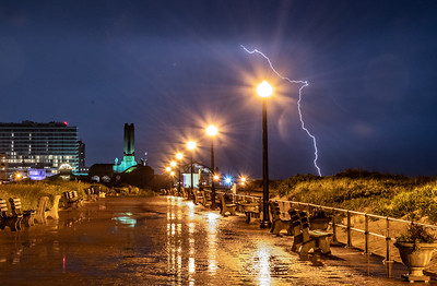 A Lightning Strike Over Ocean Grove Boardwalk and Asbury Park 6/2/19