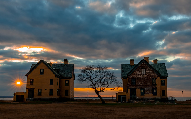 Sunset over Officer's Row in Fort Hancock, Sandy Hook, NJ 11/25/18