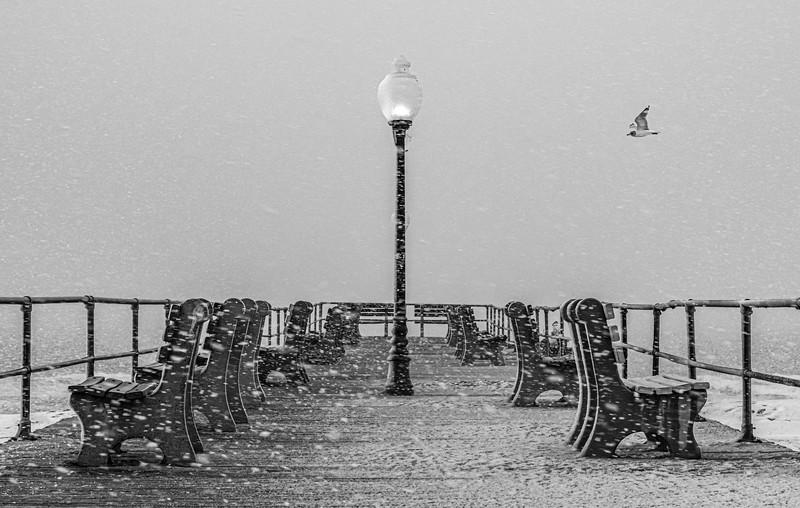 A Snowy Scene On Ocean Grove Pier 2/7/21
