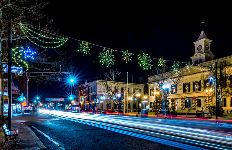 Car Trails and Christmas Display at the Hall of Records in Downtown Freehold 12/9/18