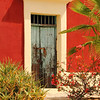 Old Green Door in Red Adobe, Mexico
