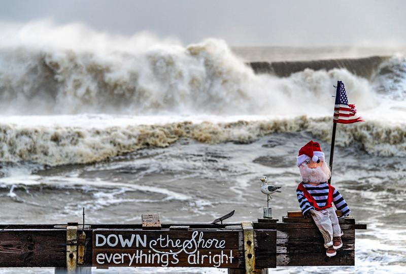 Rough Seas Behind Ralph On Ocean Grove Pier 12/17/20