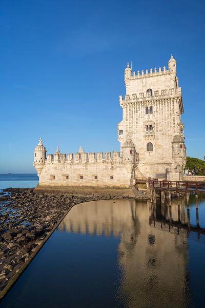 Historic Torre de Belem tower in Lisbon