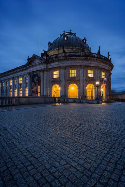Bode Museum in Berlin at dusk