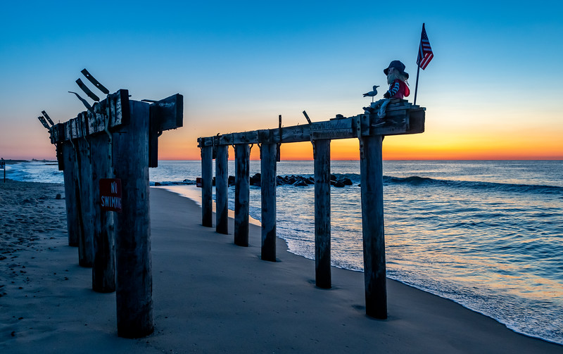 Predawn Colors Over Ocean Grove Pier Remnants 8/11/19