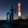 A Starry Night Over The Lighthouse Keeper Statue & Barnegat Lighthouse 1/30/20