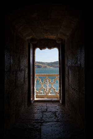 View from an old window at the Torre de Belem tower in Lisbon