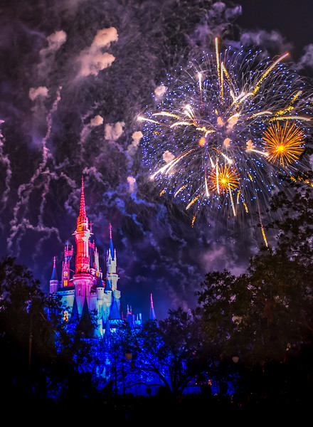Fireworks Over Walt Disney World Castle 11/16/17