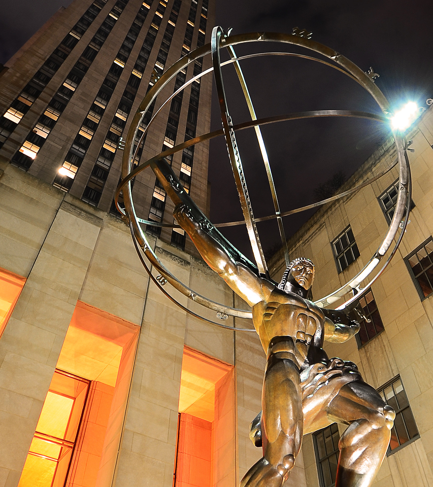 Atlas, in front of Rockefeller Center, NYC.  Again no tripod available.  Improvised using lens hood.