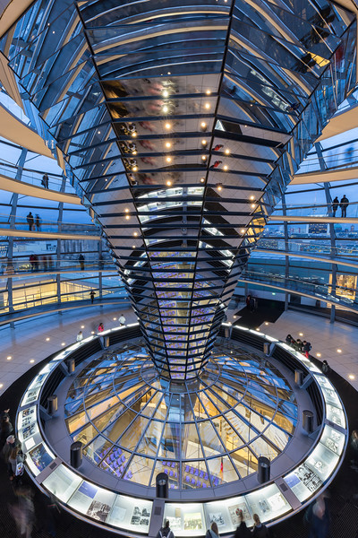 Inside the Reichstag dome in Berlin at dusk