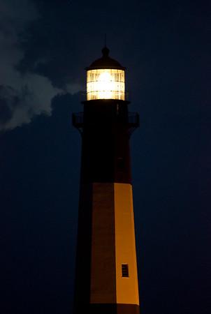 Tybee Island Lighthouse at dark