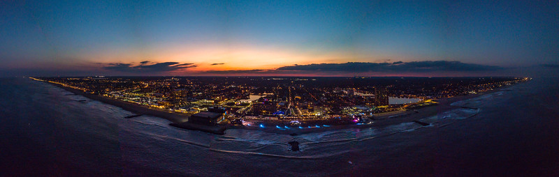 A Panoramic Shot of Sunset Over The Sea Hear Now Festival in Asbury Park 9/29/18