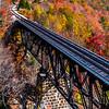 Autumn Foliage Around Railway Trestle Bridge In Crawford Notch, White Mountains, NH 10/5/20