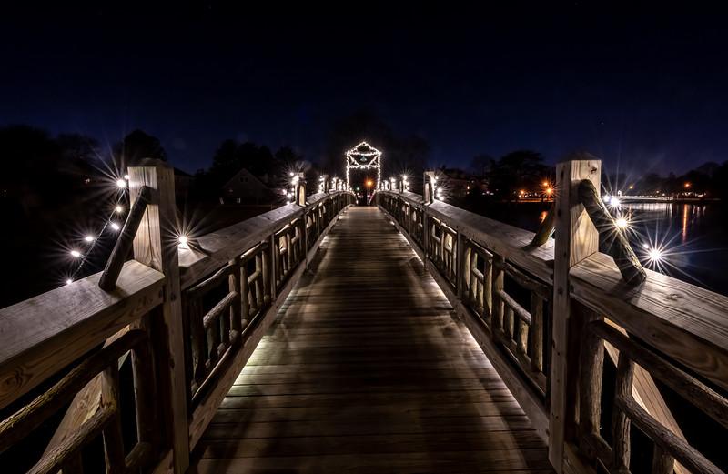 Christmas Lights On Footbridge In Spring Lake 12/21/19