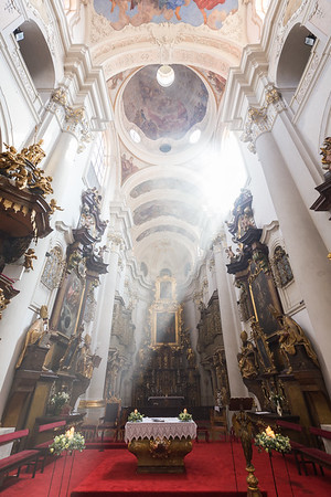 Inside the St. Thomas' Church in Prague