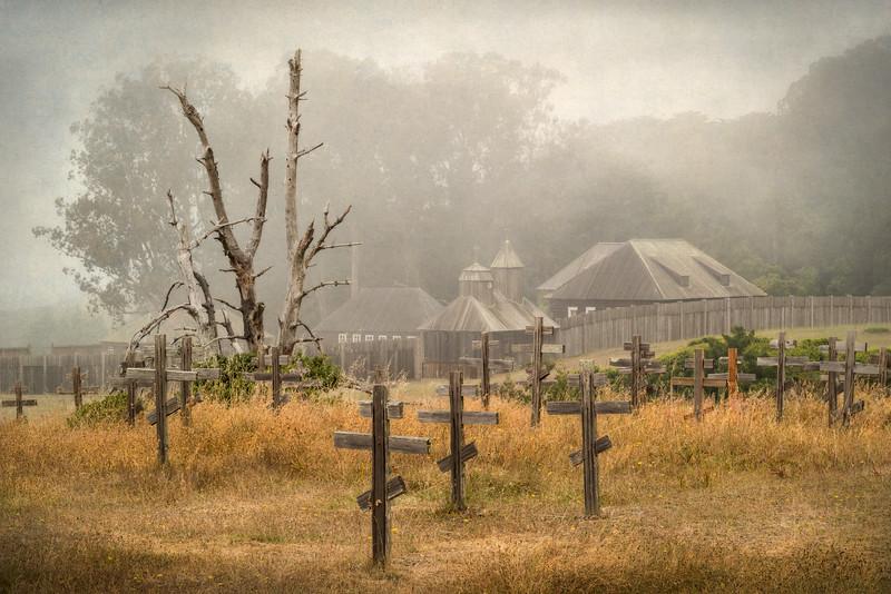 Fort Ross in Fog, Sonoma County, California