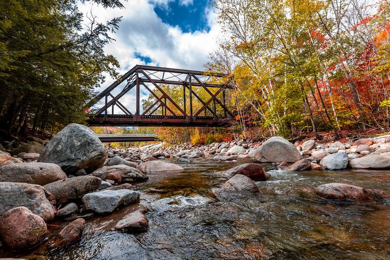 Autumn Foliage Around A Railway Trestle Bridge In The White Mountains, NJ 10/5/20